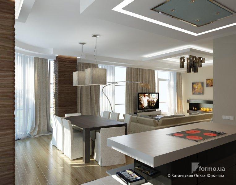 Кухня гостиная с окнами дизайн