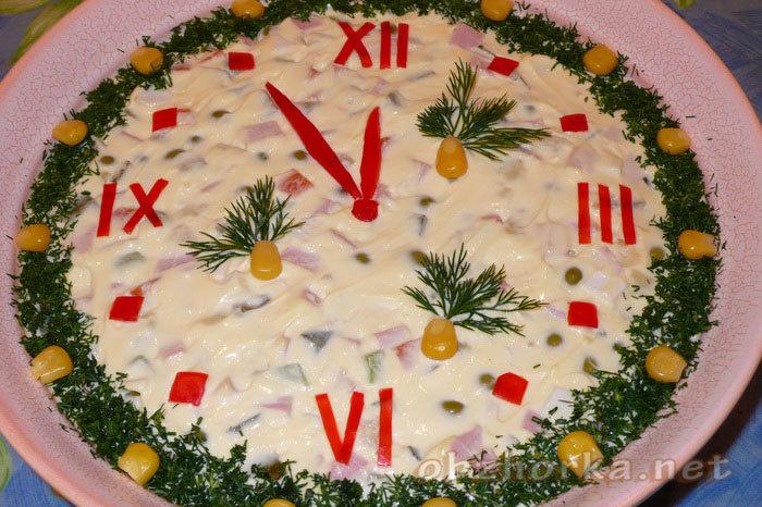 Новогодний салат часы рецепты с