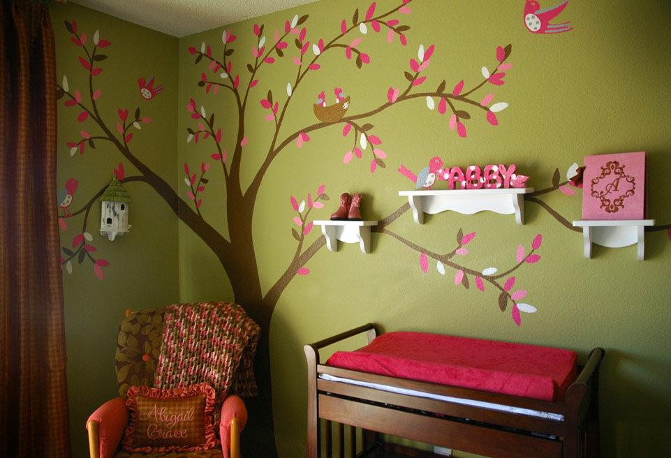 Дизайн стены своими руками в детской комнате 76