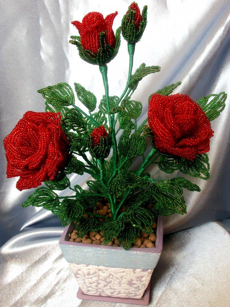 Бисероплетение розы с пошаговым