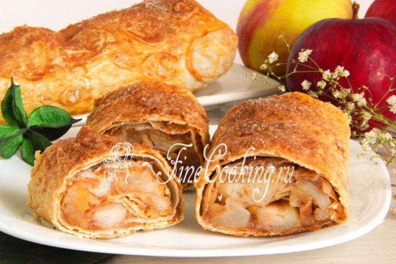 Яблочный штрудель в лаваше рецепт с фото пошагово