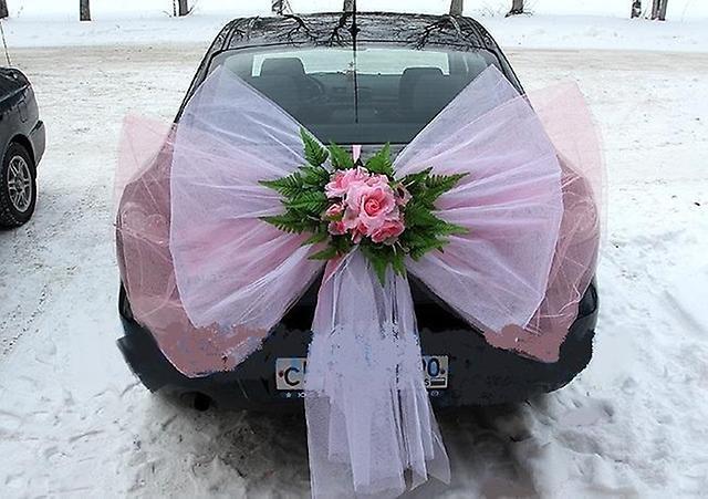 Как сшить бант на машину свадебную 59