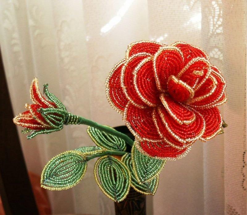Розы из бисера своими руками пошаговым