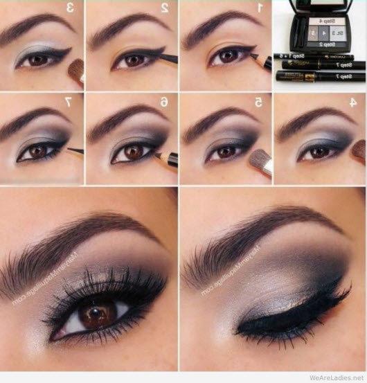 Пошаговый повседневный макияж для карих глаз фото