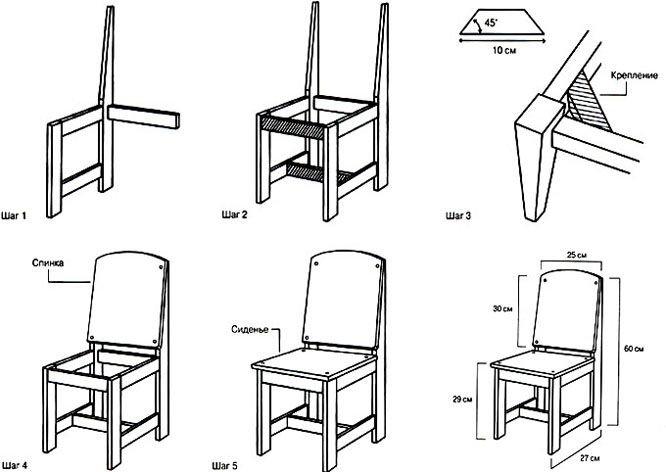 Детские стульчики своими руками и его чертежи 854