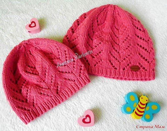 Ажурное вязание спицами шапки 299