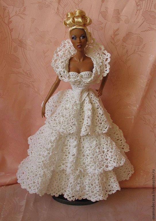 Вязание крючком для барби свадебное платье 88