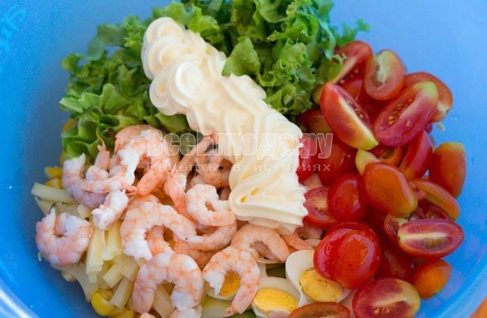 Салат из креветок с яйцом рецепты