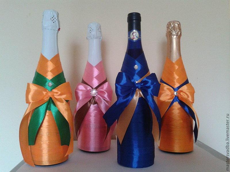 Украсить бутылку своими руками в подарок