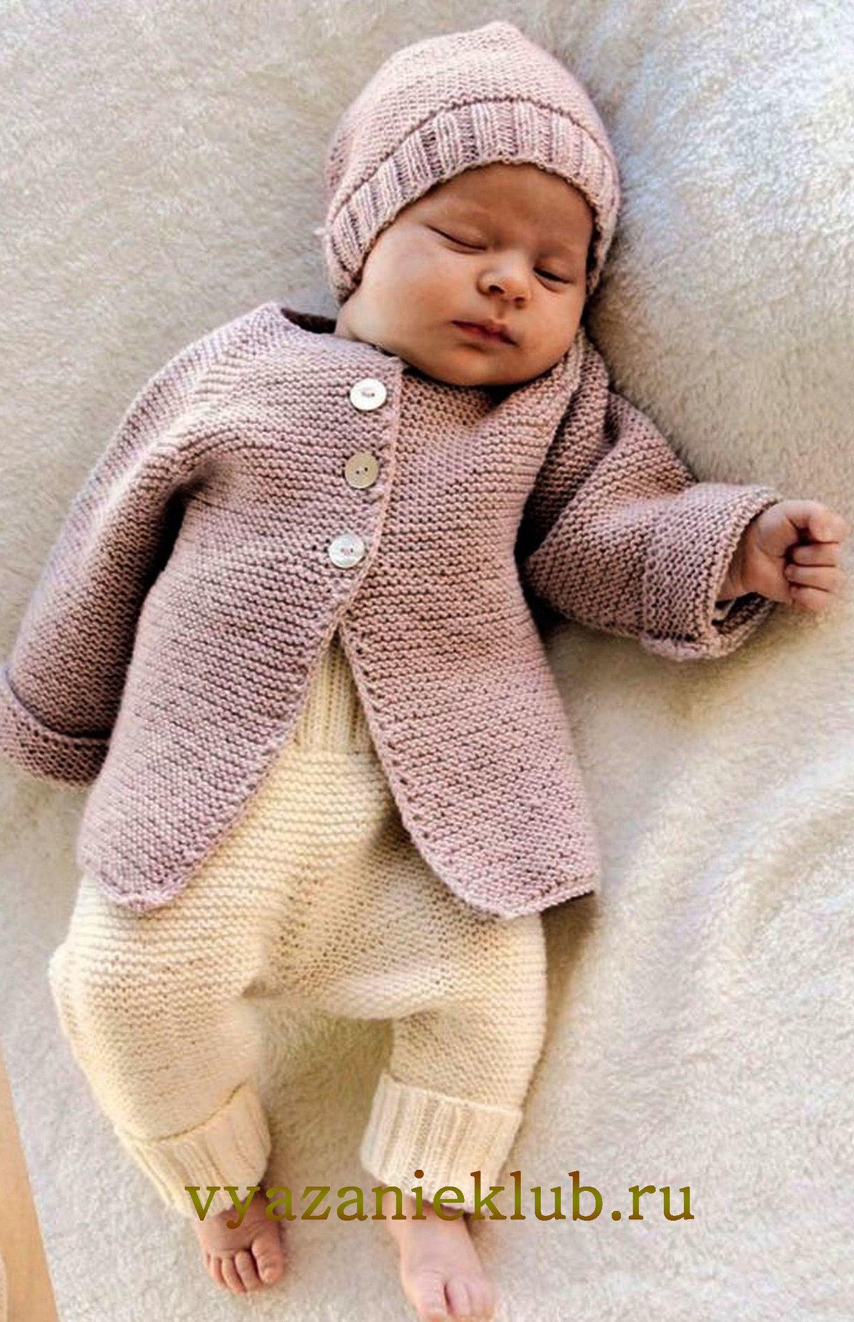 Вязание простой кофты для малыша