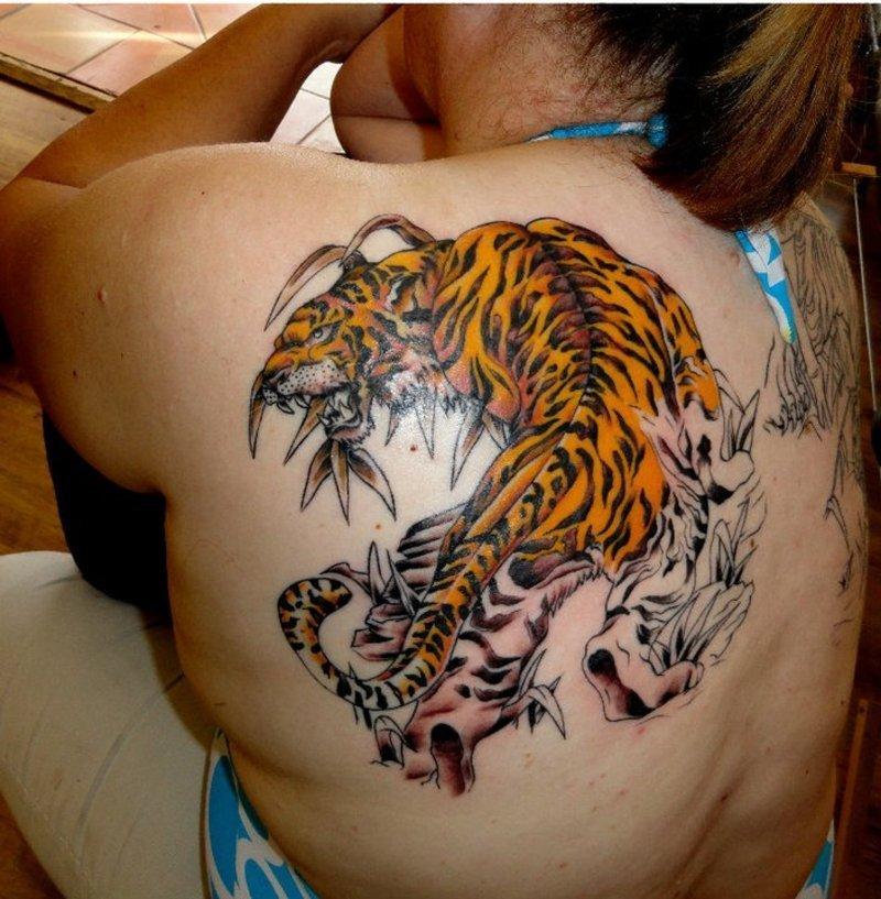Тату цветные тигры