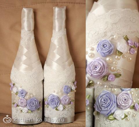 Как красиво украсить бутылку на свадьбу своими руками 79