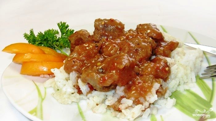 Мясо тушеное с рисом пошагово