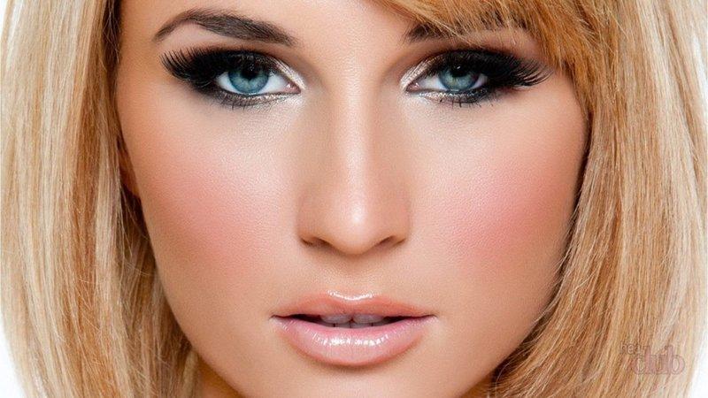 Вечерний макияж для блондинок с голубыми глазами