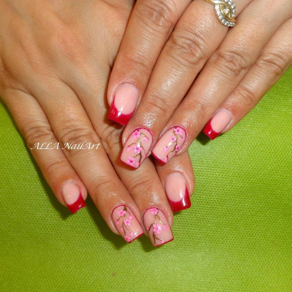 Квадратные нарощенные ногти фото с рисунками