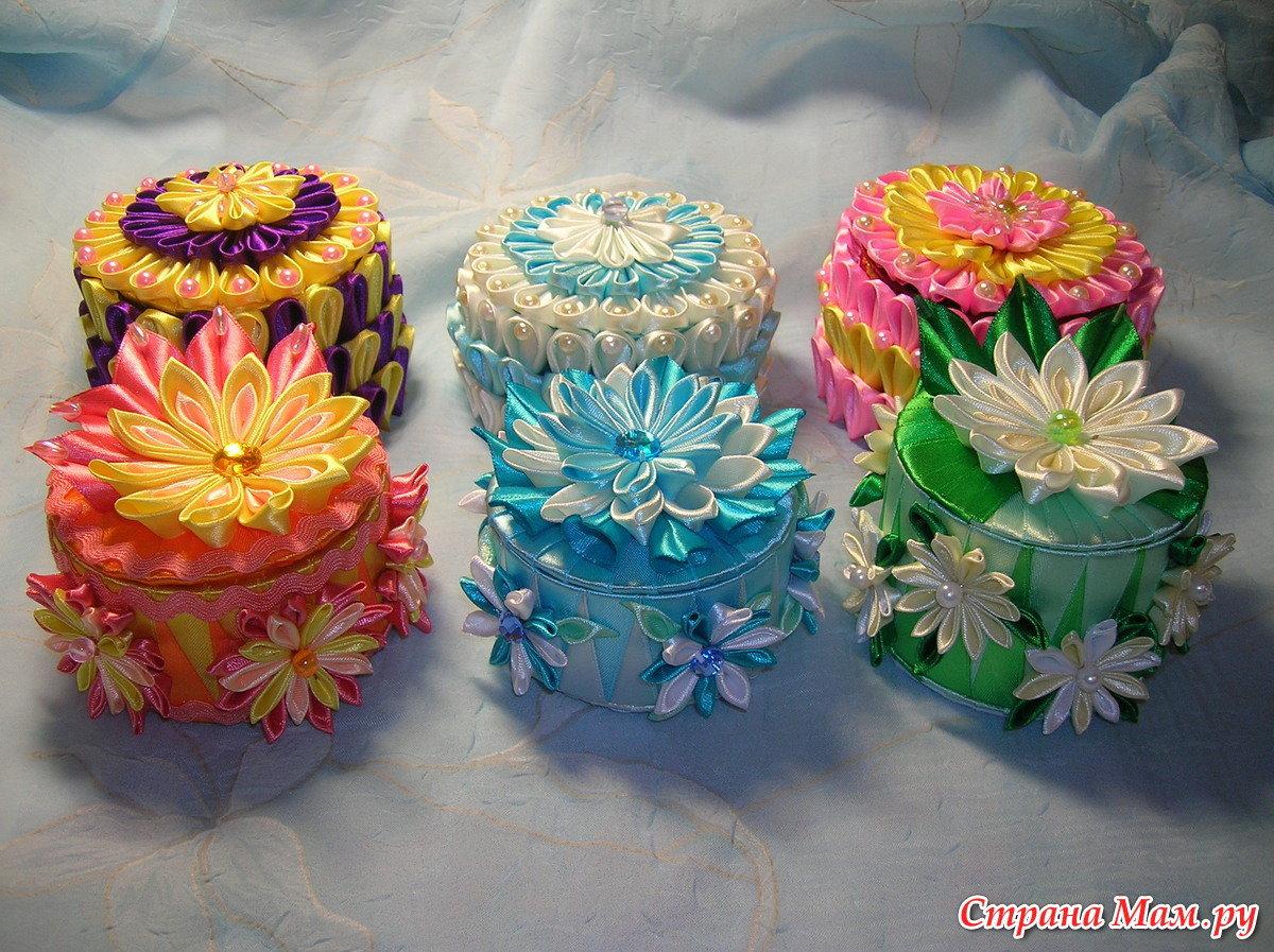 Как сделать шкатулки из лент своими руками