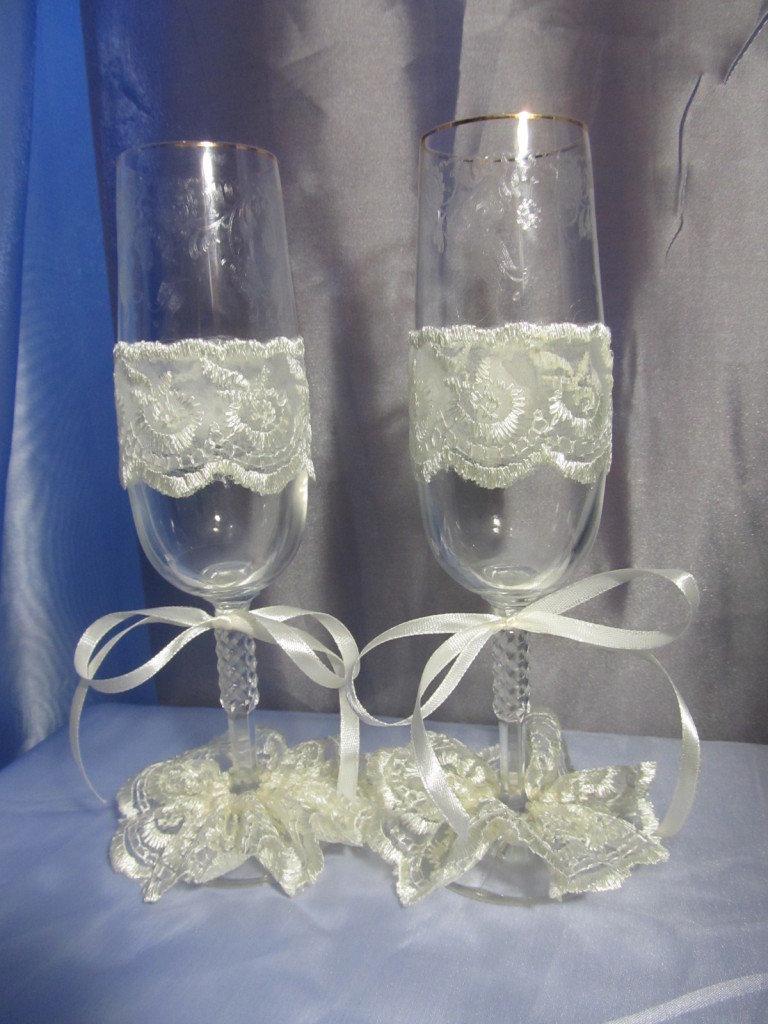Украсить бокалы своими руками на свадьбу лентами мастер класс