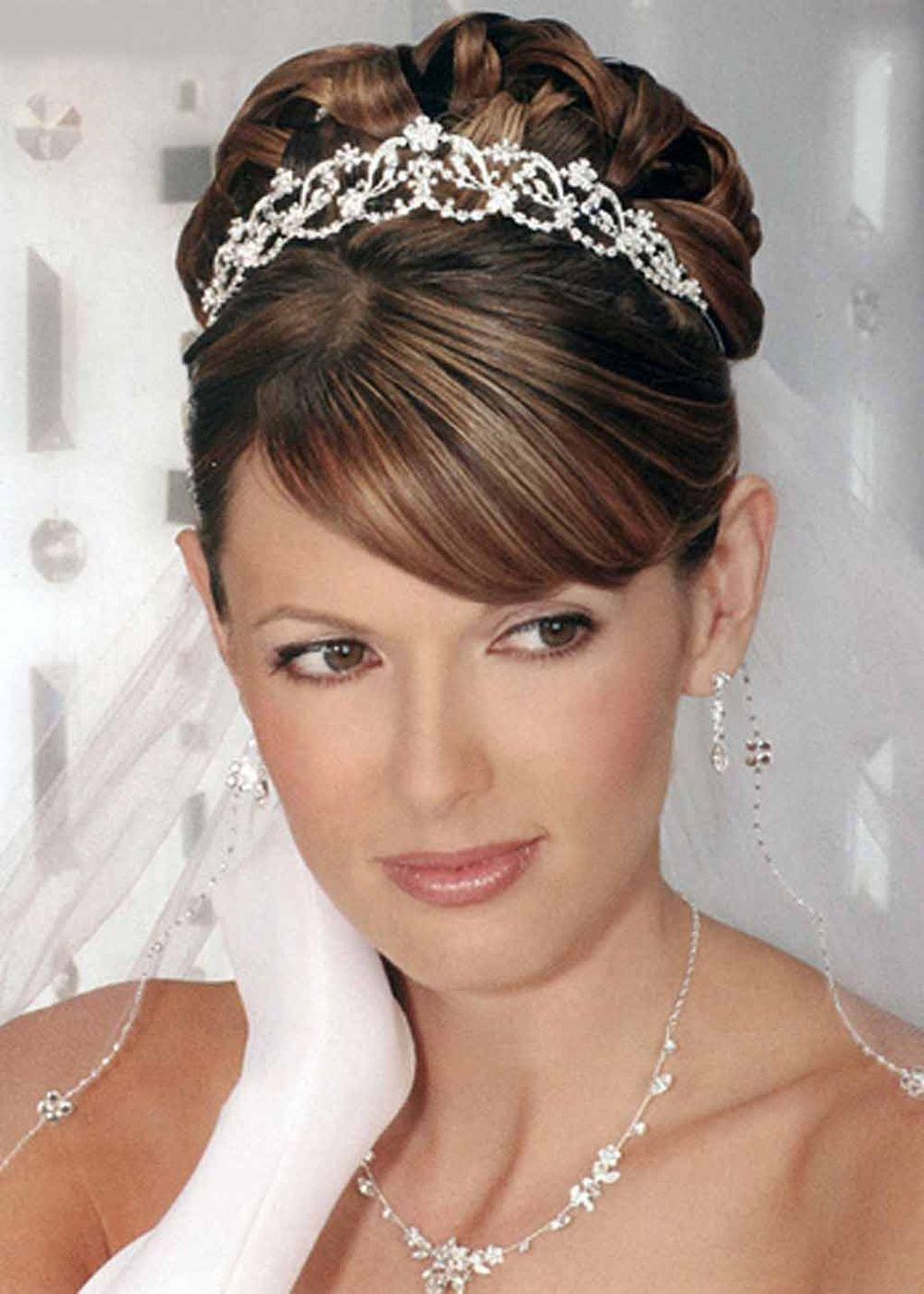 Прически невест с челкой и фатой фото