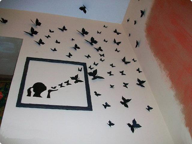 Как сделать бабочку из бабочек на стене 271