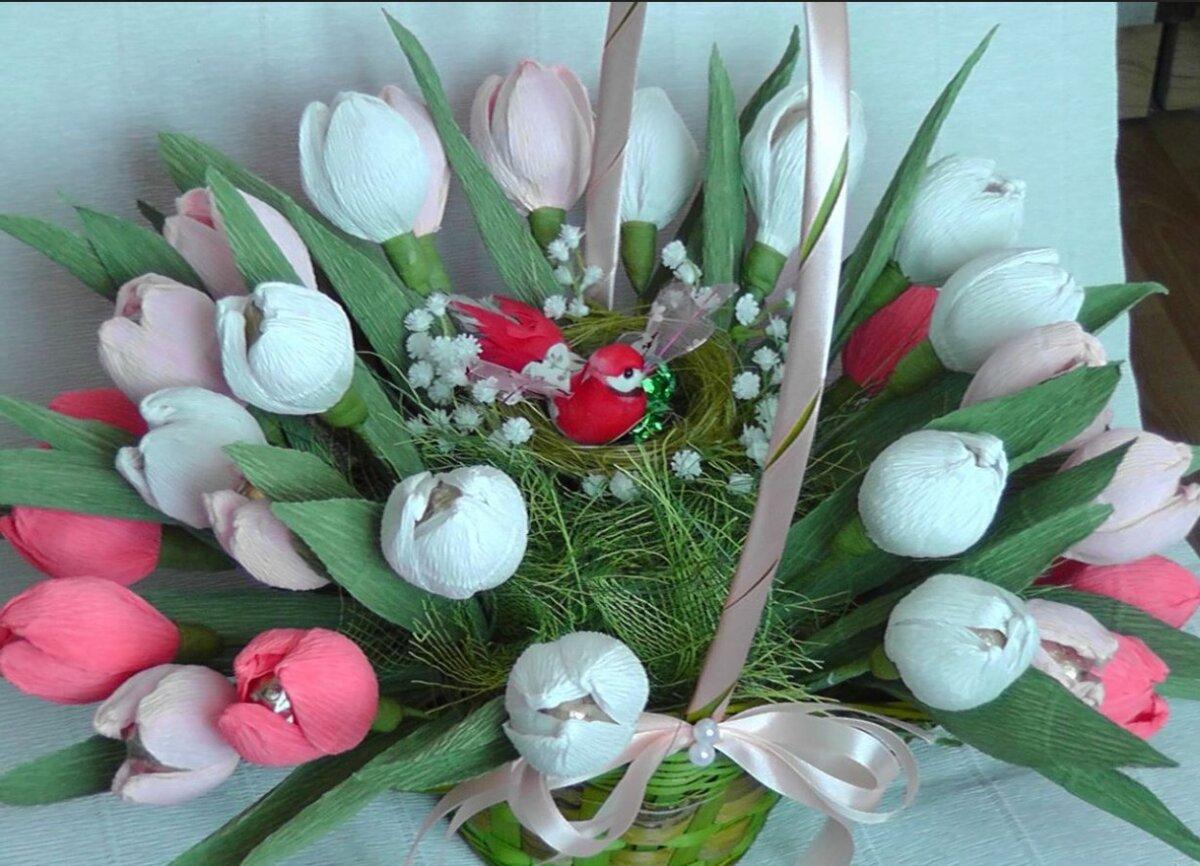 Тюльпаны с конфетами из гофрированной бумаги своими руками пошагово 91