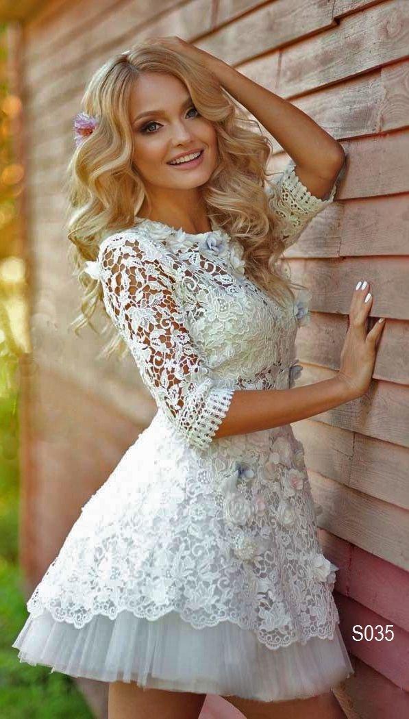 Фото свадебных платьев коротких кружевных