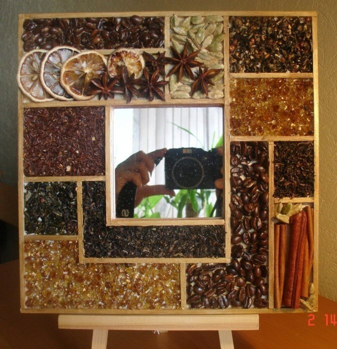 Как украсить зеркало на кухне своими руками 27