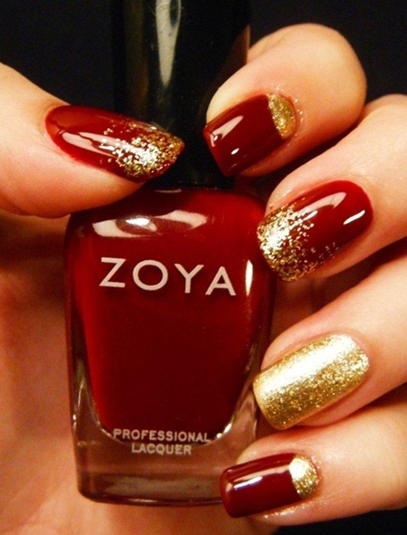 Рисунки красный с золотом ногти