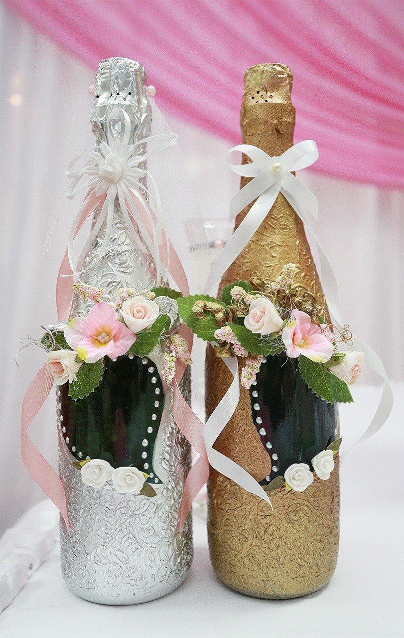 Украшать бутылки шампанского своими руками