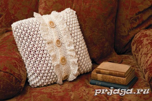 Вязанные диванные подушки своими руками фото