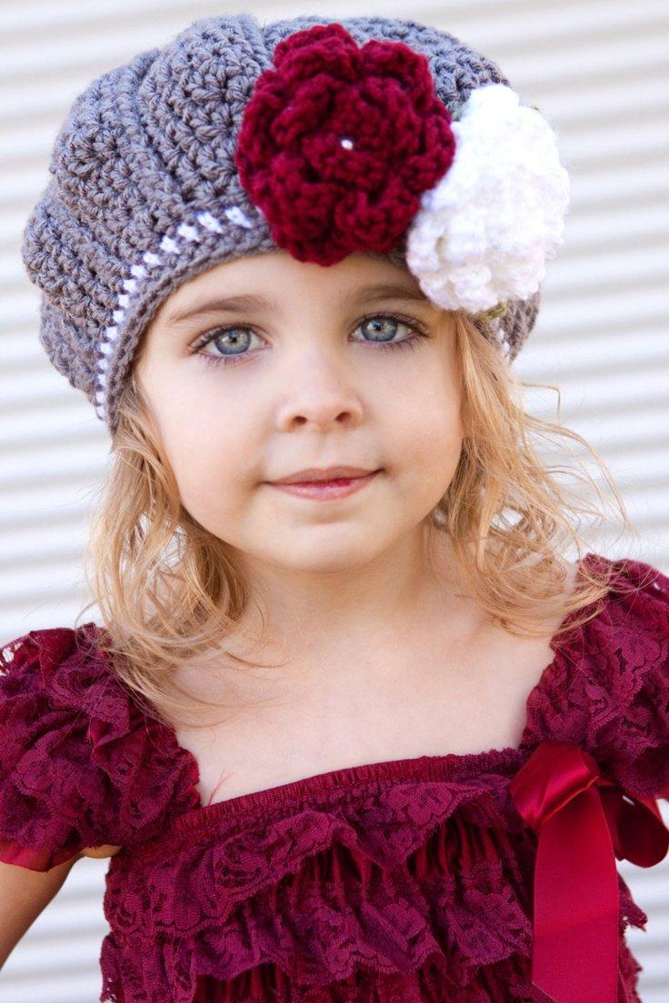 Беретки вязанные на девочку