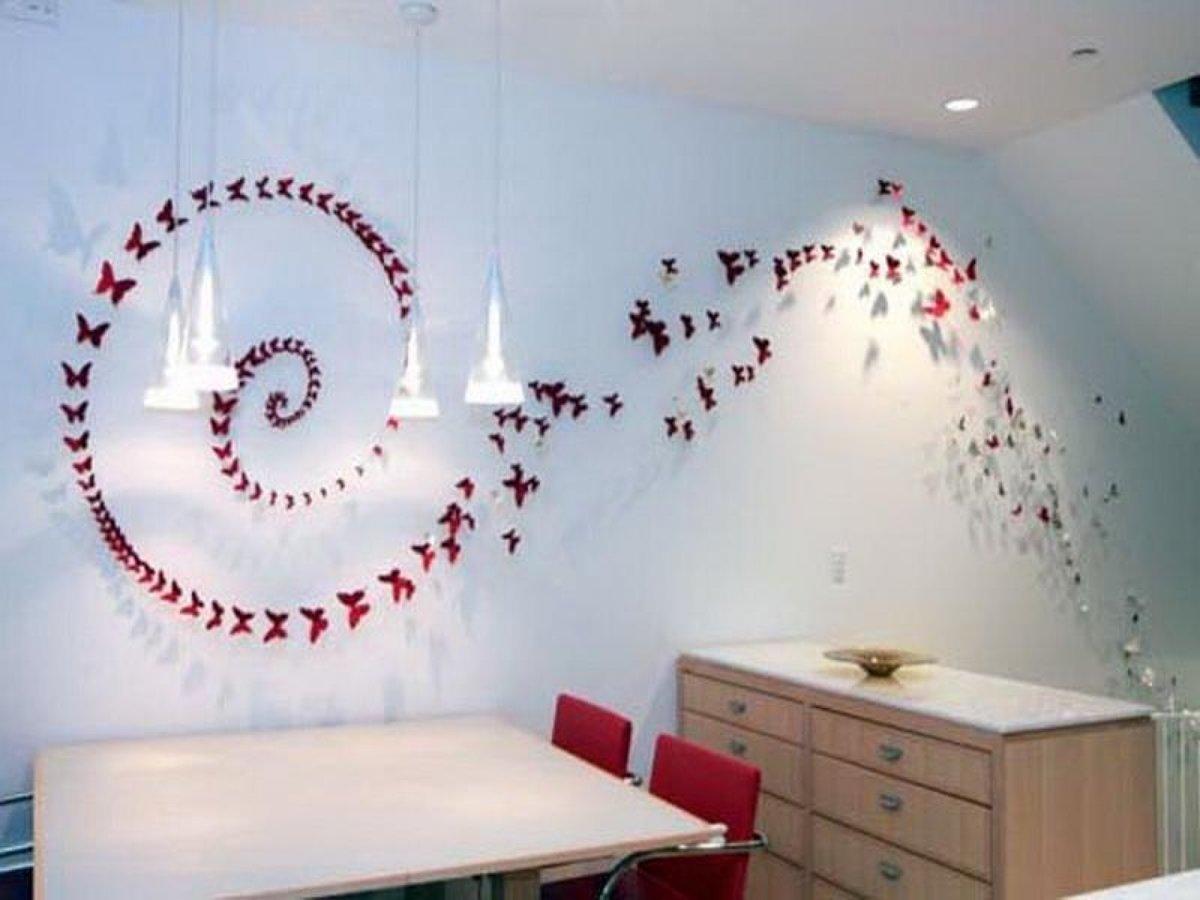 Бабочки на стене своими руками расположение