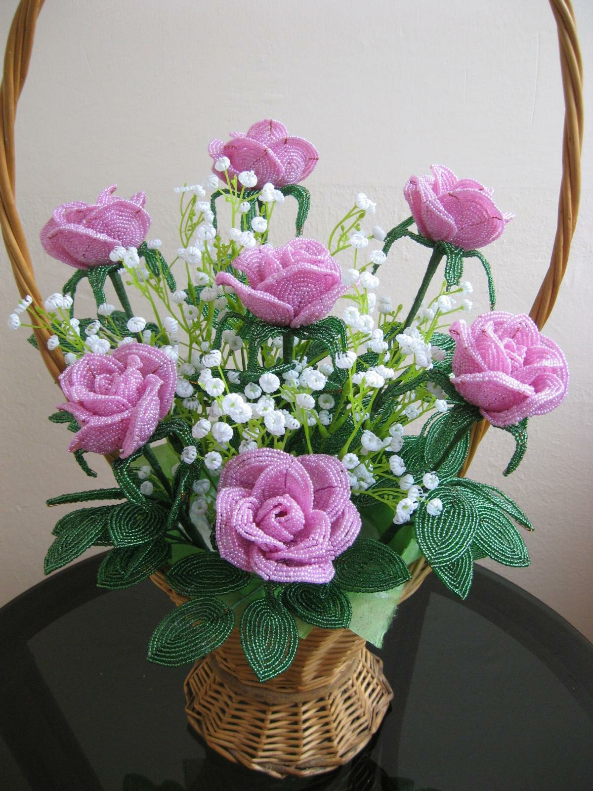 Розы в корзинке из бисера мастер класс с пошаговым