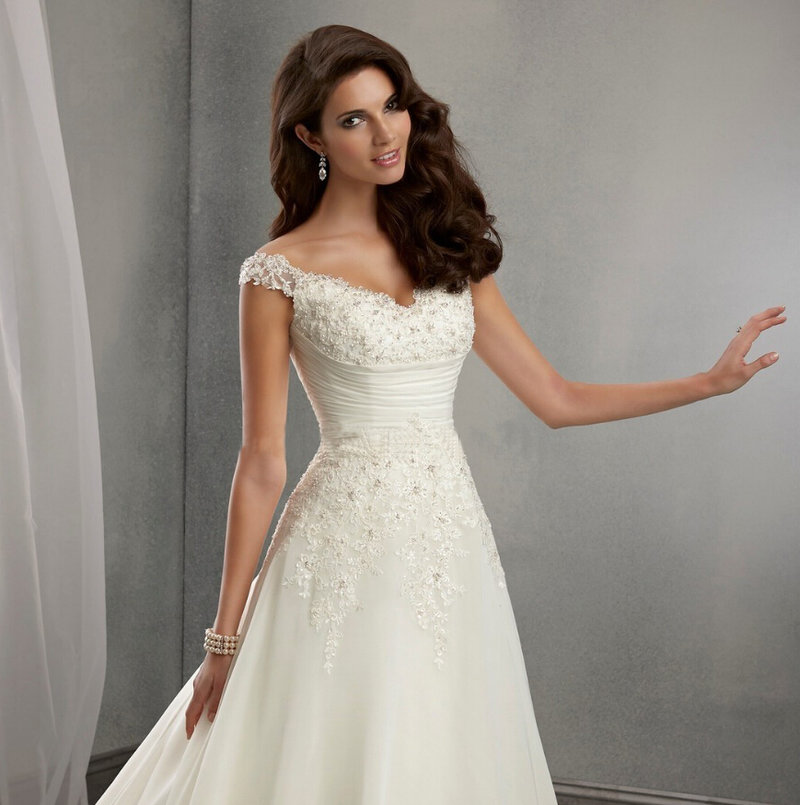 Свадебные платья ажурный верх