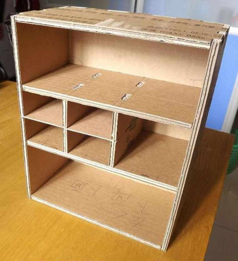 Шкаф из коробок для игрушек своими руками