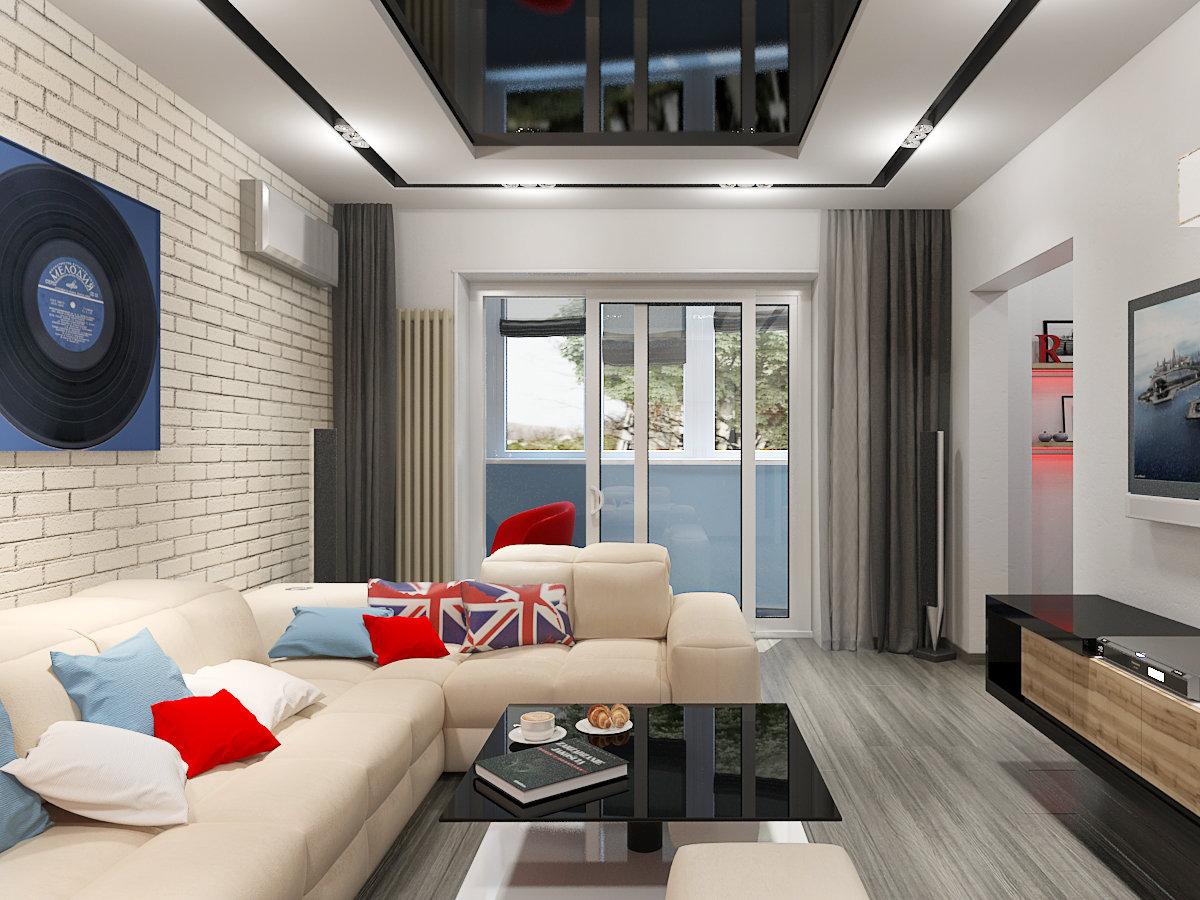 Дизайн гостиной 20 в стиле хай тек