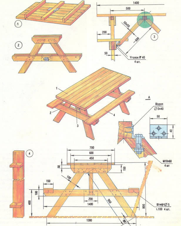 Как сделать дачный стол своими руками чертежи 80