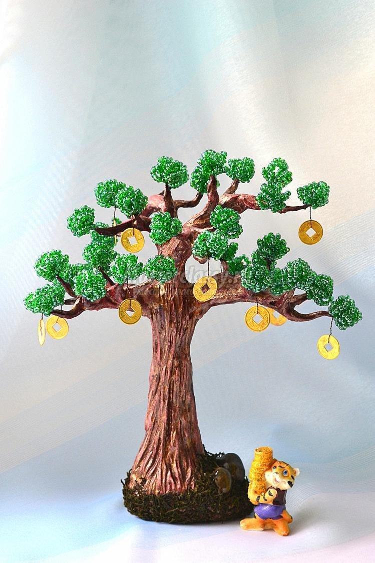 Видео как сделать денежное дерево из бисера