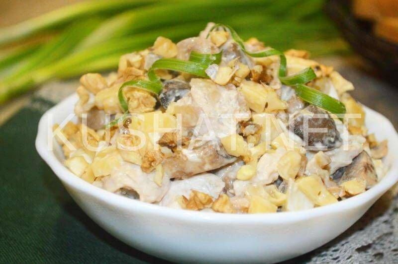 Салаты рецепты с с курицей и шампиньонами