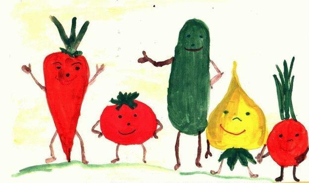 Овощи рисовать с детьми