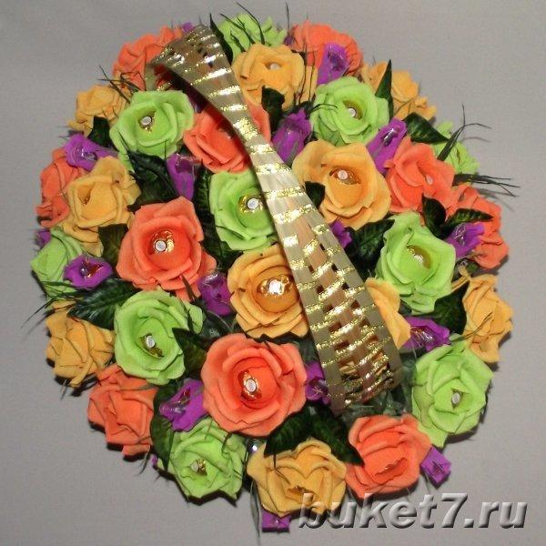 Букеты из конфет в корзинке  пошаговое фото тюльпаны