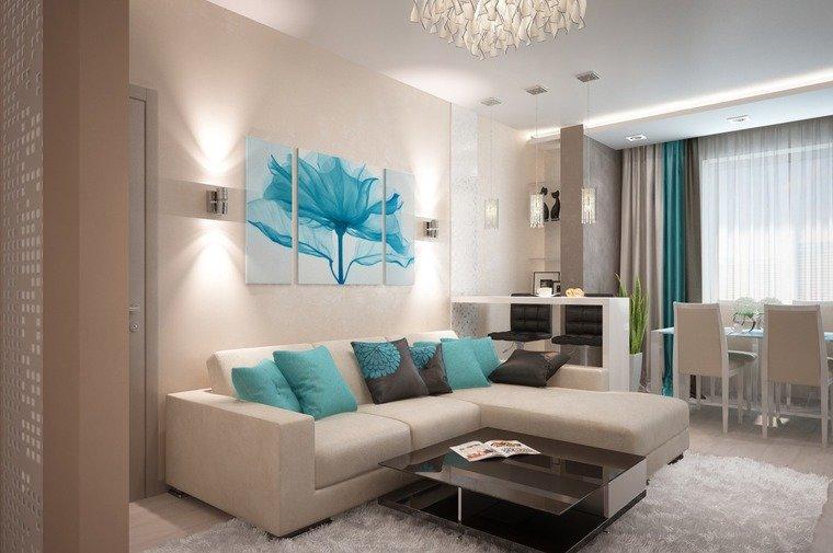 Интерьер однокомнатной квартиры в бирюзовом цвете
