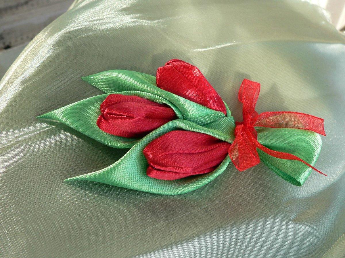 Тюльпаны из атласной ленты своими руками мастер класс 43