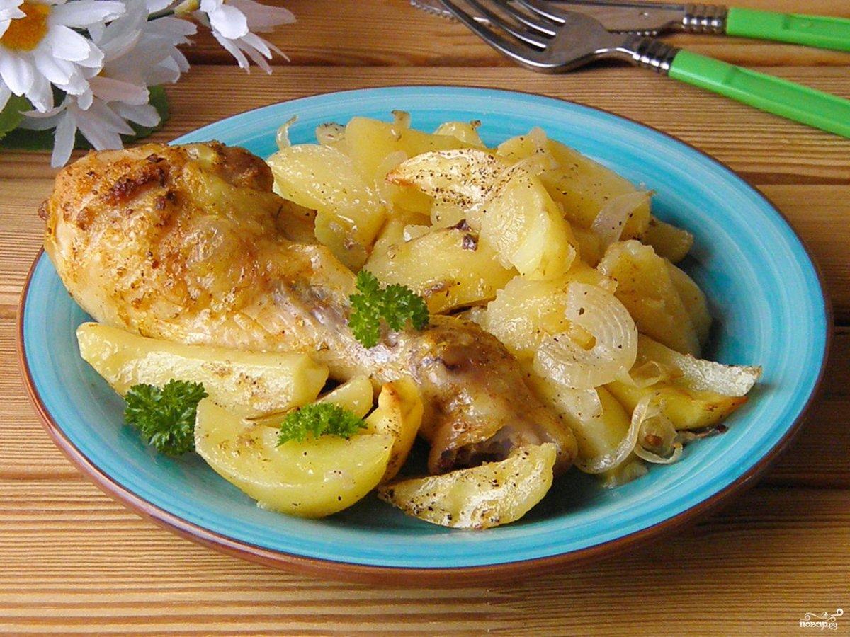 Картошка с куриными ножками и сыром в духовке рецепт с пошагово