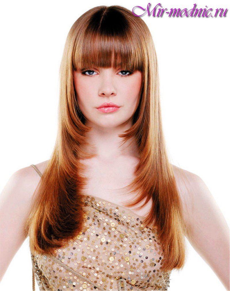 Фото стрижки лесенка с челкой на длинные волосы