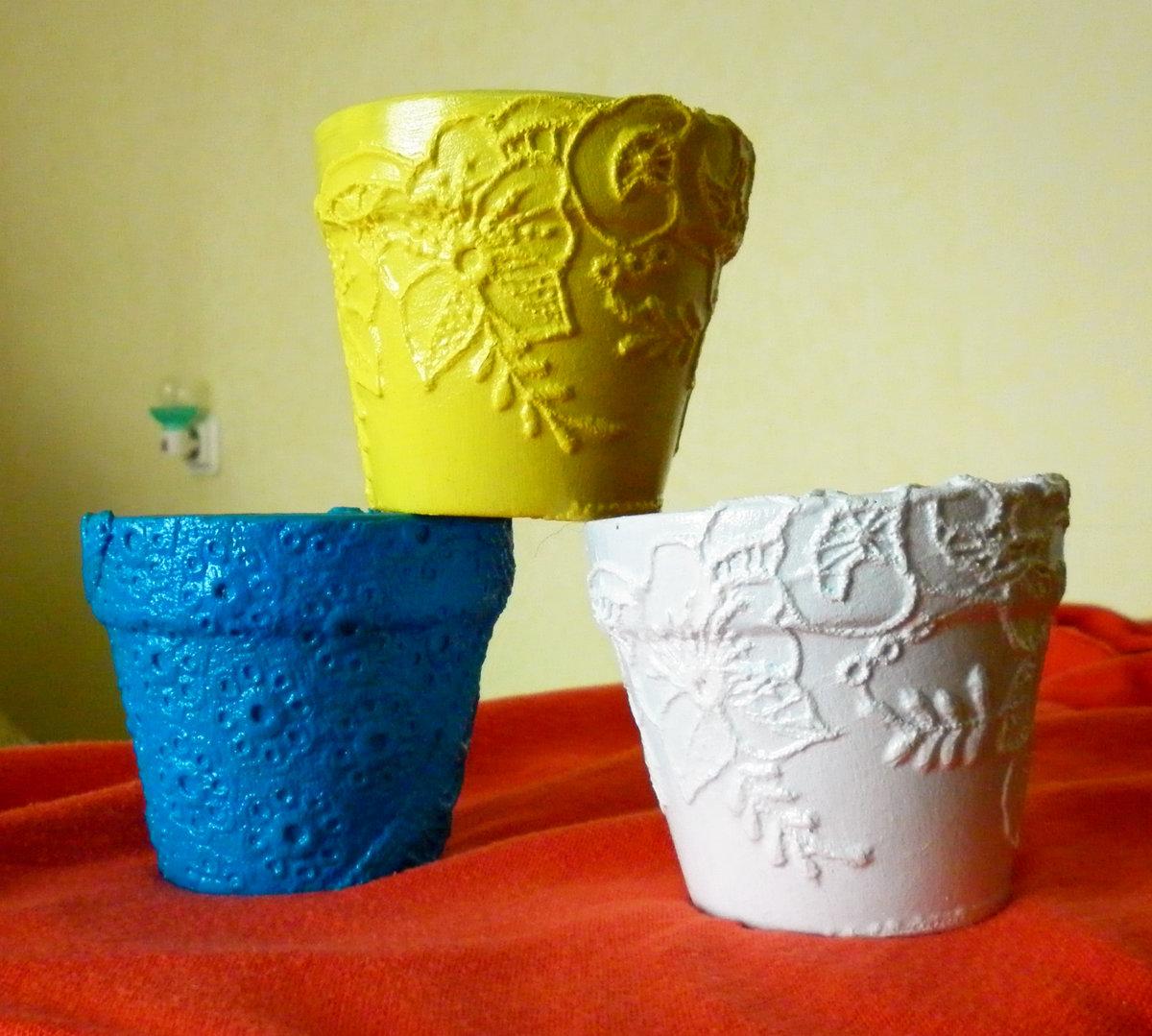 Украсить горшок для цветов своими руками тканью