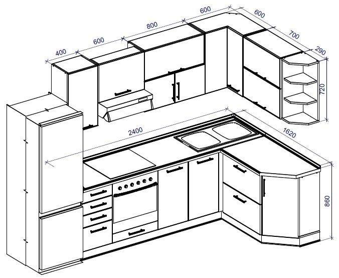 Угловая кухня своими руками из дерева чертежи 91