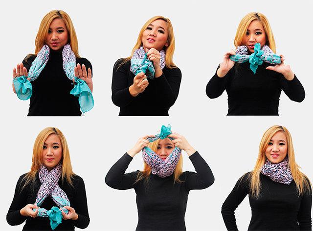 Как завязать шарфик на пальто