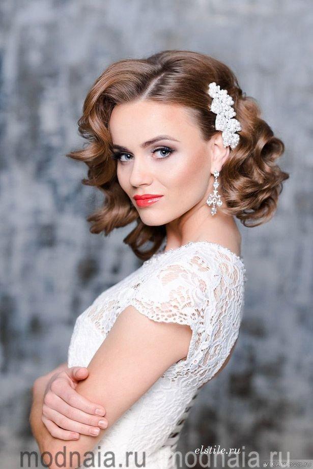 Свадебные причёски на волос средней длины