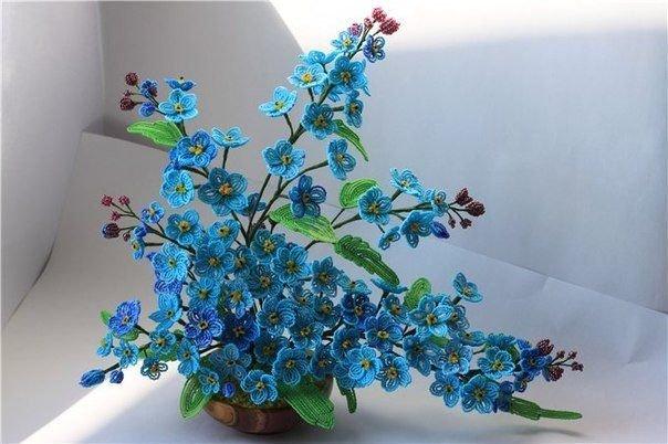 Цветы незабудки из бисера мастер класс с пошаговым фото