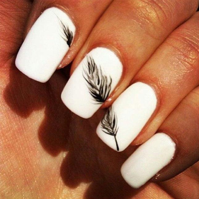 Ногти белый цвет с рисунком